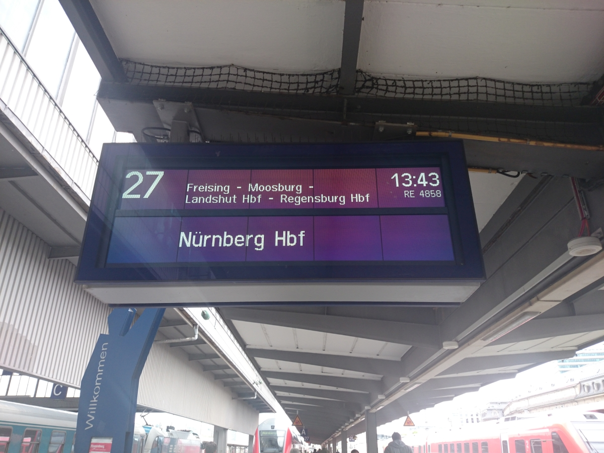 ミュンヘン中央駅 電光掲示板